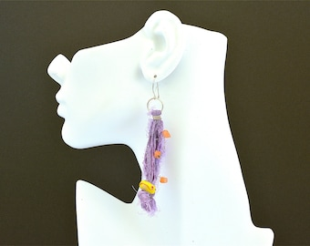 Sterling silver and sari silk ribbon boho earrings, Festival jewelry, Boho Jewelry, Boho Earrings, Gift for her