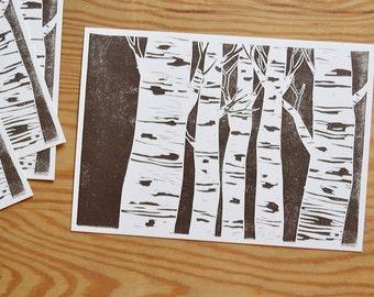 "Postcard set of 4 ""birch"""