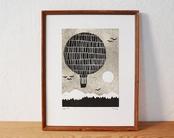 balloon 2 · original linocut · limited · DIN A5