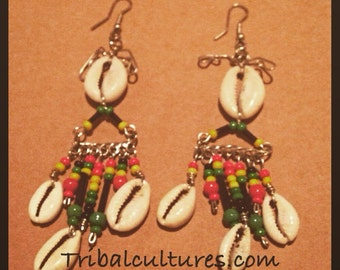 Rasta cowrie shell earrings