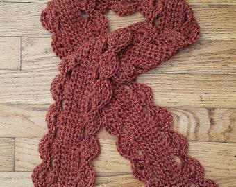 Crochet scarf, burnt orange