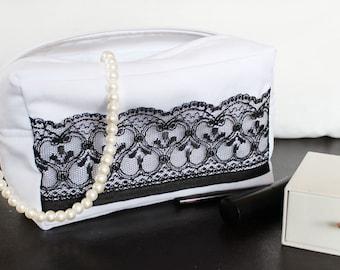 Bride makeup bag, Bride cosmetic bag, Bridesmaid makeup bag, Wedding bag, Bridal bag, Bridesmaid gift, White bag, Womens gift, Handmade bag