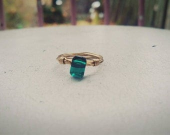 Swarovski Crystal Emerald Gold Ring