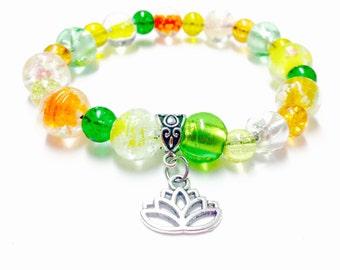 Lotus Bracelet - Silver Lotus Charm Bracelet - Glass Bead Bracelet - Yoga Bracelet - Elastic Lotus Bracelet - Beaded Lotus Bracelet - Lotus