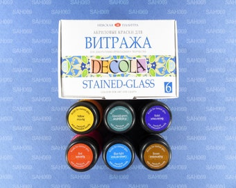 6 STAINED GLASS Acrylic Paint Set DECOLA Russian Nevskaya Palitra