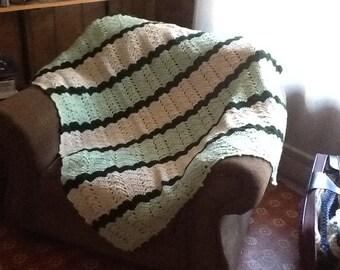Large afghan, green afghan, crochet afghan, light green afghan, patterned afghan
