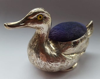 Crisford and Norris Antique Silver Duck Pin Cushion
