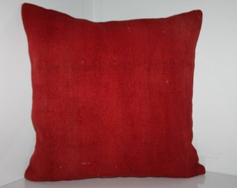 "large kilim pillow 24x24 vintage kilim pillow 24""x24"" Red-Coral Pillow Handwoven Kilim Pillow Decorative Pillow 60x60 Kilim Cushion Cover 2"