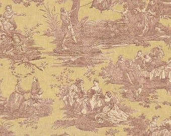 Waverly Toile Idyllic Days color Ruby, Toile Fabric Printed Decorative Home Decor