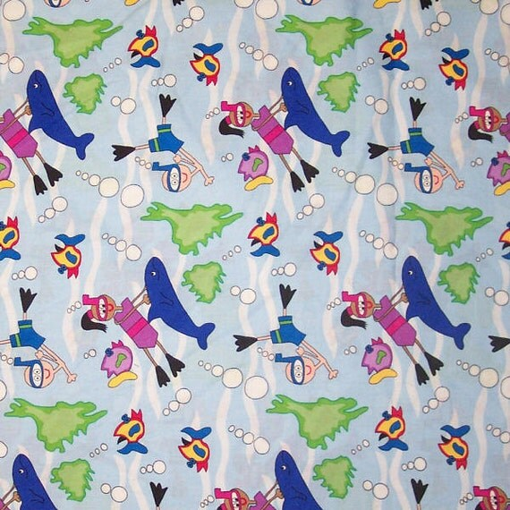 Children playing whales fish bubble etc fabric cotton for Children s home decor fabric