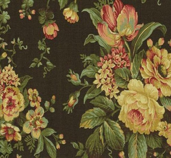 Waverly Bridgewater Floral Chocolate Fabric By The Yard BTY