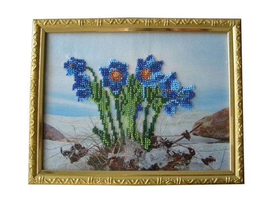 Embroidery picture Wall handing art Gift for her Embroidered with Beads picture Wall decor Gift for women Wall art Blue Gift ideas Seed bead