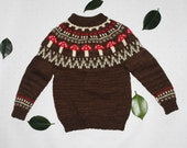 Unisex Child's Brown Toadstool Fairisle Icelandic Yoked jumper, sweater, 100% Bluefaced Leicester Wool, Aran, British, Soft, Winter, Knitted