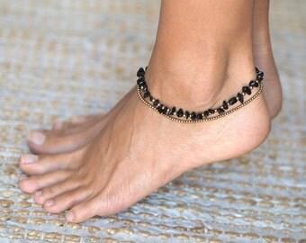 Black Onyx Anklet // Black Anklet // Black Ankle Bracelet // Ankle Bracelet for Women // Elegant Anklet // Black Onyx Ankle Bracelet