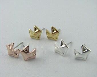 Fox Stud Earrings, Minimal Fox Earrings / Sterling Silver, 18K Gold, or Rose Gold / Fox Studs / Everyday Jewelry