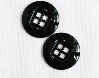 2 buttons 20mm black round 4 holes metal square (7055)