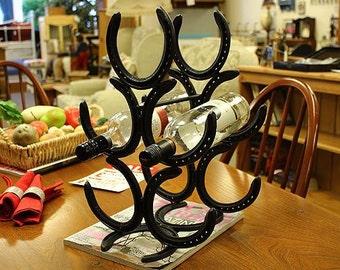 Five bottle horseshoe wine rack, steel gift, wedding, birthday, anniversary, christmas, Horse lover, mother, father, wife, husband, son