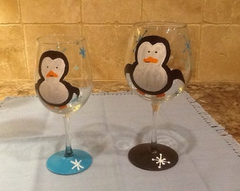 Two hand painted wine glasses