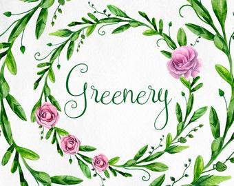Green wreath clip art Watercolor floral arrangements Garden greenery clipart Summer flowers purple Hand painted wreath Digital download