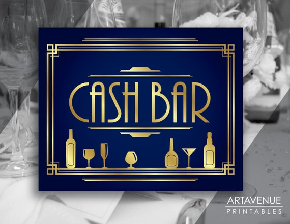 Navy and gold party decor cash bar printable sign for Cash decor mougins