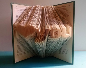 "Folded Book Art Featuring the Words ""I Love You"" with a Heart - Beautiful Gift for the Book Lover"