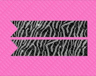 Zebra rhinestone bow strips Jumbo size