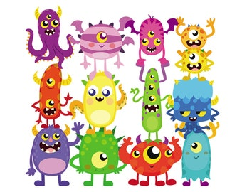 50 Cute Monsters Clipart