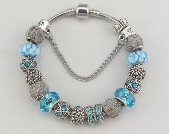Bracelet Pandora Style charms butterflies and charms