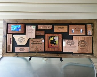 Modern Wall Art created from recycled wooden cigar box lids and sides