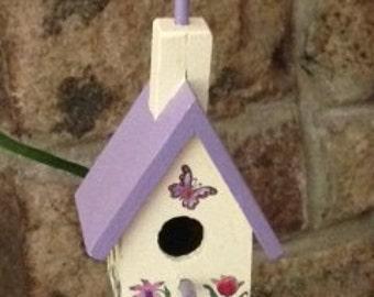Mini Birdhouse Garden Stake (Medium) - Cream & Purple Chapel with Butterfly