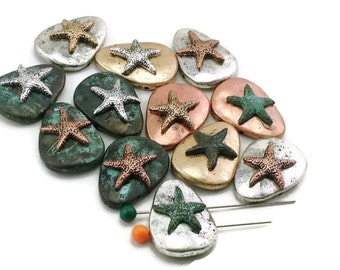 12 Patina Starfish Mixed Metal 2 Hole Beads 11375