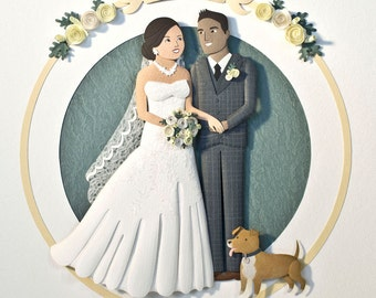 Wedding gift. Paper anniversary gift. Personalized wedding portrait. Paper cut custom portrait. Wedding invitation.