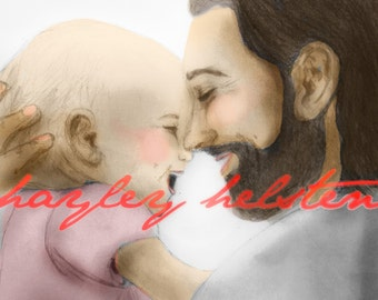 Personalized Drawings with Christ- Colored (Digital File Only)