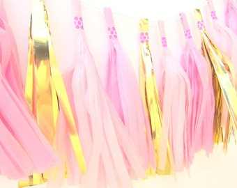 Pink & Gold Tissue Paper Tassel Garland. First Birthday | Hen Party | Christening | Kids Room | Playroom Decor | Girl's Birthday Party