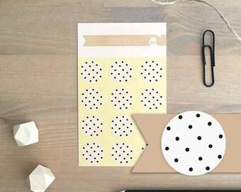 Stickers 12 pieces / Pattern Black & White Dots (2 cm round)