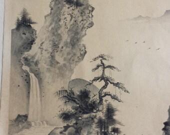 Untitled Mountain Scene Japanese Print by Izuno Gazan