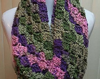 Pink and Green Scarf, Crochet Scarf, Infinity Scarf, Chunky Scarf, Multi-Color Scarf, Striped Scarf, Scarf, Winter Scarf