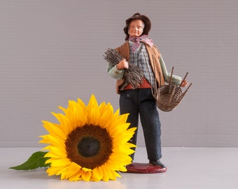 Santon Figurine | French Santon Doll | French Provencal Basket-maker doll | Provence Terra Cotta Doll | Vintage Provence Doll | Provence