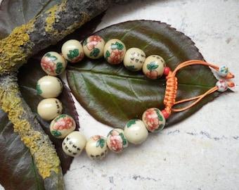 Porcelain beads, painted characters, bracelet, Bangle, bracelet, jewelry