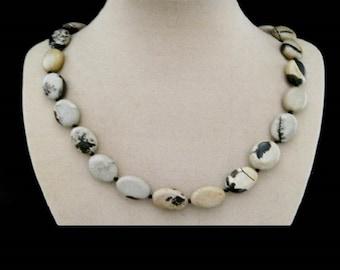Plattierter Ocean Jasper necklace, necklace, silver clasp
