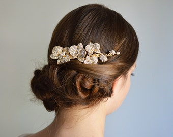 Wedding orchid comb, Vintage Inspired Wedding Comb, Gold Bridal Hair Comb Crystals Wedding Hair Comb