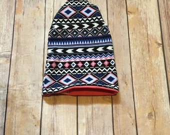 slouchy hat reversible baby slouchy beanie  baby hat tribal baby girl slouchy beanie