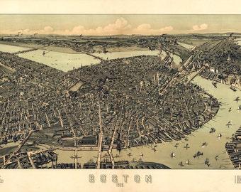 1899 Panoramic Map of Boston Massachusetts