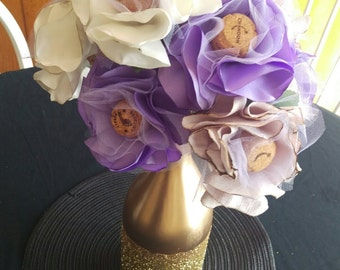 Champagne Cork, Fabric Flower Bouquet