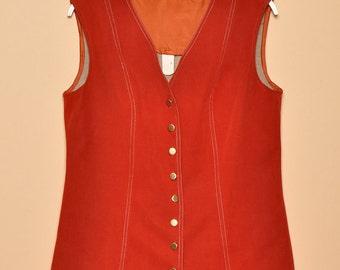 Vintage 1970s Soft Burnt Sienna Vest, Size Medium