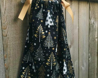 Black and Gold Holiday Pillowcase Dress