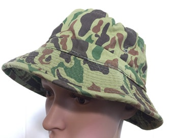 90's camouflage bucket hat hip hop size 7 1/4
