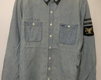 polo ralph lauren chambray stencil embroidery womens size 14