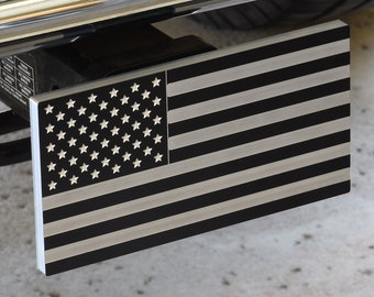 American Flag - Billet Aluminum Trailer Hitch Cover - Tactical Black