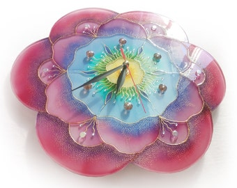 Hand painted glass wall clock Fantasy Flower, glass painting, painting on glass, unique wall clock, modern wall clock, pink wall clock